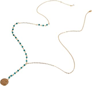imixlot Women Bohemia Blue Beads with Disc Coin Long Chain Necklace Jewelry