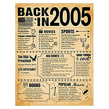 16 Years Ago Birthday Poster for Him or Her 8 x 10 Party Decorations Supplies Large 16th Party Sign Home Decor for Men and Women   Back in 2005-Classy Vintage