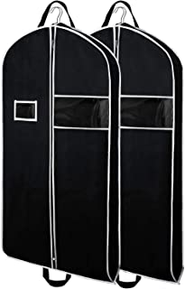 Zilink Garment Bags Suit Bag for Travel 43-inch Breathable Suit Garment Cover with Clear Window and ID Card Holder for Suits, Dresses, Coats, Set of 2