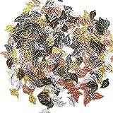 250 Pezzi Pendente foglia di metallo, Gioielli ciondolo collana bracciale vuoto, Pendente foglie vuote per Creazione Fai da Te per Portachiavi, Bracciale, Collana, Trovare Craft Decorazione Accessori