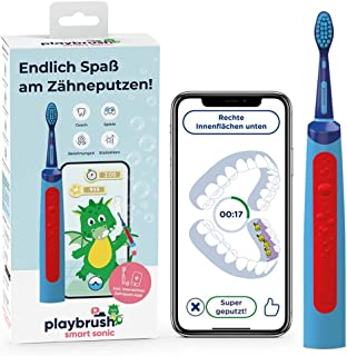 Playbrush Smart Sonic, smarte elektrische Schallzahnbürste für Kinder mit interaktiver Spiele-App (Blau)