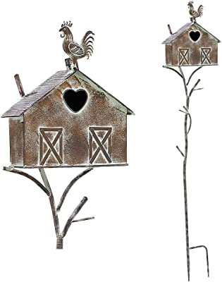 Brogan Farmhouse Bird House Stakes for Outside, Rustic Metal Birdhouse Stand Pole Decorative Outdoor Yard Art, 55 Inch Tall