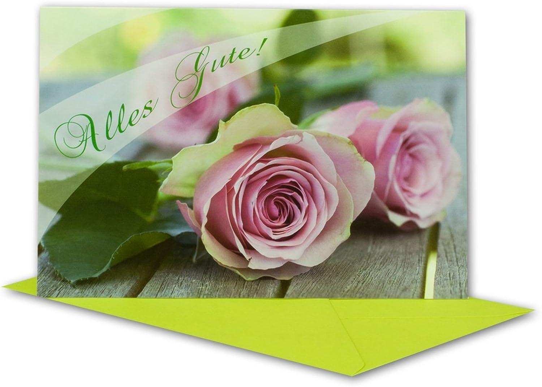 """Glückwunschkarten Set I """"Alles Gute  I mit Rosa Rosan - limette-farbener Umschlag I 30 Stück I B6 17 ,0 x 11,5 cm I klappbare Grußkarte für jeden Anlass  Geburt I Taufe I Kommunion oder Hochzeit - Papier B07G3BLVP7   Reichlich U"""