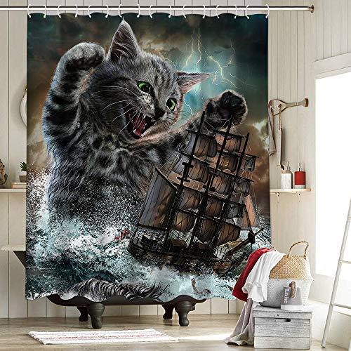 Cat Kraken Duschvorhang aus Stoff mit 12 Haken für Badezimmer Deko Fox Republic Katzen Monster Titan Horror Brüllen Geister Schiff Halloween Dekorationen 183 x 183 cm