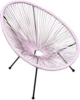 Acapulco Sun Oval Outdoor Patio Chair All-Weather Patio Indoor Outdoor Acapulco Weave Lounge Chair (1pc with Table, Pink)