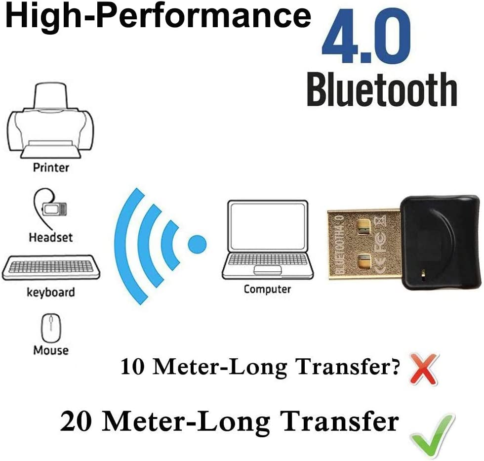 Bluetooth Adapter USB 4.0 Bluetooth Dongle Adapter Wireless Bluetooth Transmitter Receiver for Windows 10 8/8 7 XP Vista for Bluetooth Speaker, Headset, Keyboard, Mouse, Game Controller Black