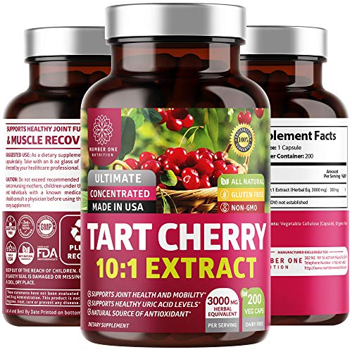 N1N Premium Tart Cherry Extract Capsules, 200 Veg Caps, 3000 mg [10X Concentrated Extract] Powerful Antioxidant, Joint Health and Mobility, Uric Acid Cleanse, Non-GMO and Gluten Free