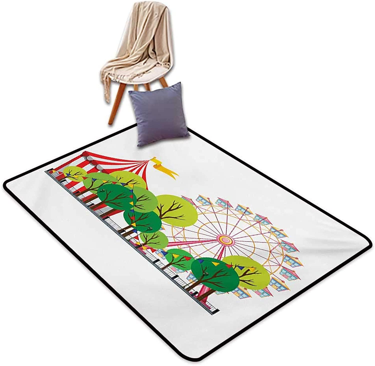 Circus Non-Slip Door mat Circus Carnival Scene with Ferris Wheel and Tree Images Cool Fun Park Artistic Show Water Absorption, Anti-Skid and Oil Proof 48  Wx59 L Multicolor