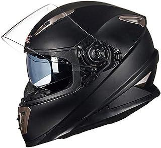 Bandit Helm Motocross Helm Mit Doppelter Sonnenblende Unisex Motorradhelm Downhill Helm Für Honda Yamaha Suzuki Kawasaki,Matte Black-XL61-62cm