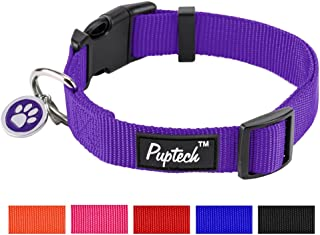 PUPTECK Basic Nylon Dog Collar Designer Solid Adjustable Puppy Pet Fancy Collars with ID Tag