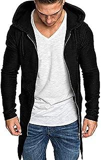 Giuntura con cappuccio solido Trench Cardigan Slim Fit Zip Outwear cappotto giacca da uomo