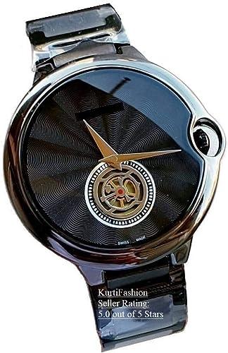 Kurti Fashion Chronograph Men's Watch (Black Dial Black Colored Strap) Chronograph Work
