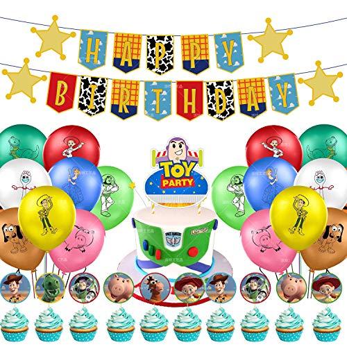 REYOK Toy Story Decoración para Fiestas de Cumpleaños con Globos Banderín Feliz Cumpleaños Tarjetas de Tarta Adornos de Casa Bunting Banner Balloon Birthday Decorations Garland Set para Niños