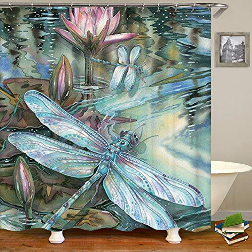 SARA NELL Dragonfly and Lotus Shower Curtain,Waterproof Polyester Fabric,Bath Curtains Bathroom Decorations Home Decor Sets,72X72 Inches with 12 Hooks