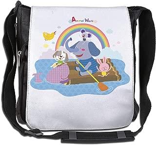 XIVEIER Custom Baby Elephant Spraying Rainbow Lover Geek Crossbody Bags For Mans