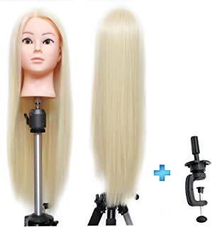 """ErSiMan Cosmetology Mannequin Head with Synthetic Fiber Blonde Hair 26""""-28"""" Manikin Head for Brading Hair Hairdressing Tra..."""