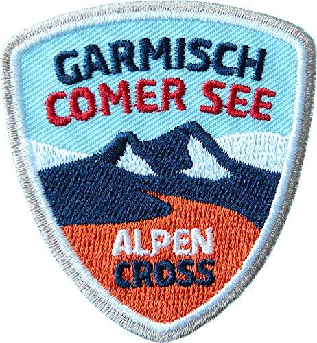 2 x Alpencross Garmisch - Comer See / MTB Abzeichen 55 x 60 mm gestickt / Transalp Alpenüberquerung Mountainbike / Aufnäher Aufbügler Sticker Patch / Comersee Partenkirchen Radtour Radführer Radkarte