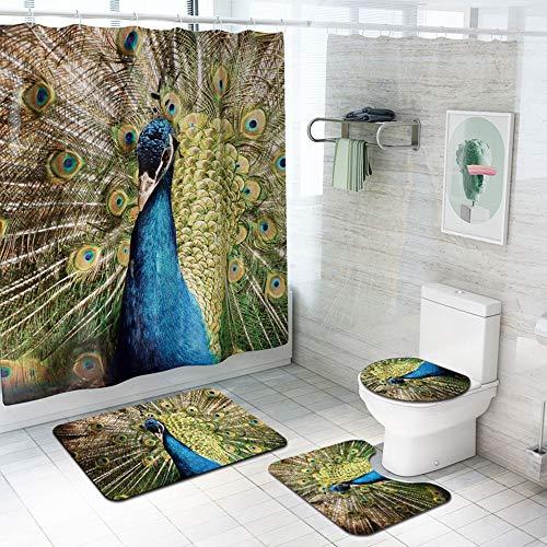 ETH Peacock Patroon Douchegordijn Vloermat Badkamer Toiletbril Vierdelig Tapijt Waterabsorptie Ververvaagt Niet Veelzijdig Comfortabele Badkamer Mat Kan Machine Wassen duurzaam