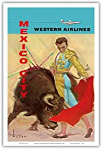 Pacifica Island Art Mexico City - Bullfight Matador - Western Air Lines - Vintage Airline Travel Poster by José Maria Tuser Vázquez c.1960s - Master Art Print - 12in x 18in