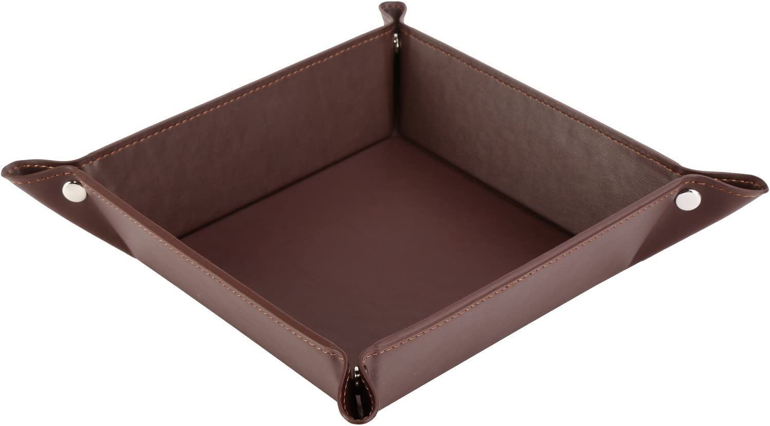 8 Compartments Catchall EDC Tray PU Leather Bedside Vanity Tray Nightstand Caddy Coin Box Key Jewelry Storage Organizer Brown SITHON Valet Tray Desktop Organizer