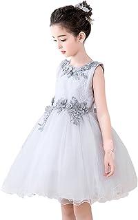 [eones]ドレス 子供 フォーマルドレス ミニドレス 女の子 シルバー 花刺繍 花柄 リボン 発表会 誕生日 プレゼント(6125)
