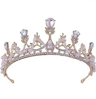 LUCKYYY Diadema da Sposa per Sposa Lascia la Corona di Cristallo per Sposa 150 x 57 mm