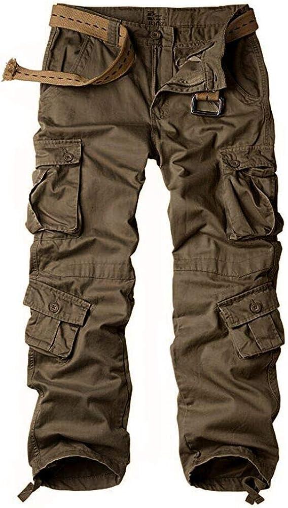 Pencil KUZI Women Plus Size Workout Cotton Military Combat Cargo Pants Overalls Straight Multi-Pocket Trousers