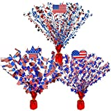 3 Pcs 4th of July Patriotic Spray Centerpieces Assorted Metallic Foil Star American USA Flag Red White Blue Gleam 'N Burst Centerpieces 16.5' Balloon Weight Centerpiece Party Table Decoration