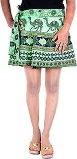 Sttoffa Women's Hippie Wrap Around Skirt Mini Short Multi Colored Printed Skirt Green