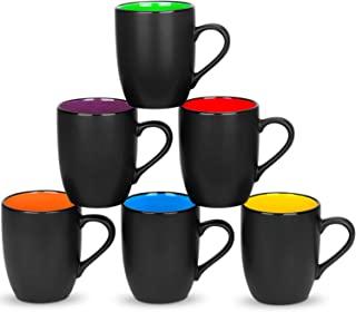 6 Pack Large Coffee Mug Set 16 Ounces, DeeCoo Matte Black Porcelain Mug - DeeCoo Large-sized Ceramic Restaurant Drinking C...