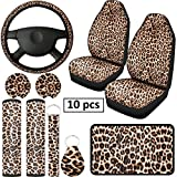 10 Pieces Leopard Print Car Decorations, Includes Leopard Front Seat Covers, Steering Wheel Cover, Leopard Car Coasters, Armrest Pad Cover Seat Belt Pads and Keychain Wrist Strap for Universal Cars