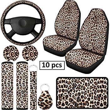 10 Pieces Leopard Print Car Decorations Includes Leopard Front Seat Covers Steering Wheel Cover Leopard Car Coasters Armrest Pad Cover Seat Belt Pads and Keychain Wrist Strap for Universal Cars