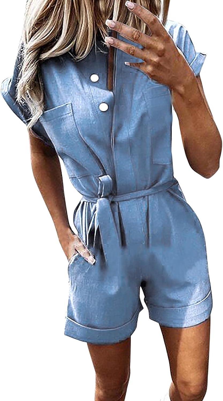 Uppada Women's Fashion Jumpsuits Summer Short Sleeve Buttons Blouses Loose Wide Leg Shorts Denim Blue Pockets Ropmers