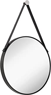 Hamilton Hills Hanging Black Leather Strap Metal Circular Wall Mirror with Chrome Accents| Glass Panel Rounded Circle Design Vanity Mirror (24