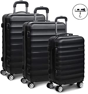 Wanderlite Luggage Sets Lightweight Suitcases Travel Carry On Bag Hard Case-Black