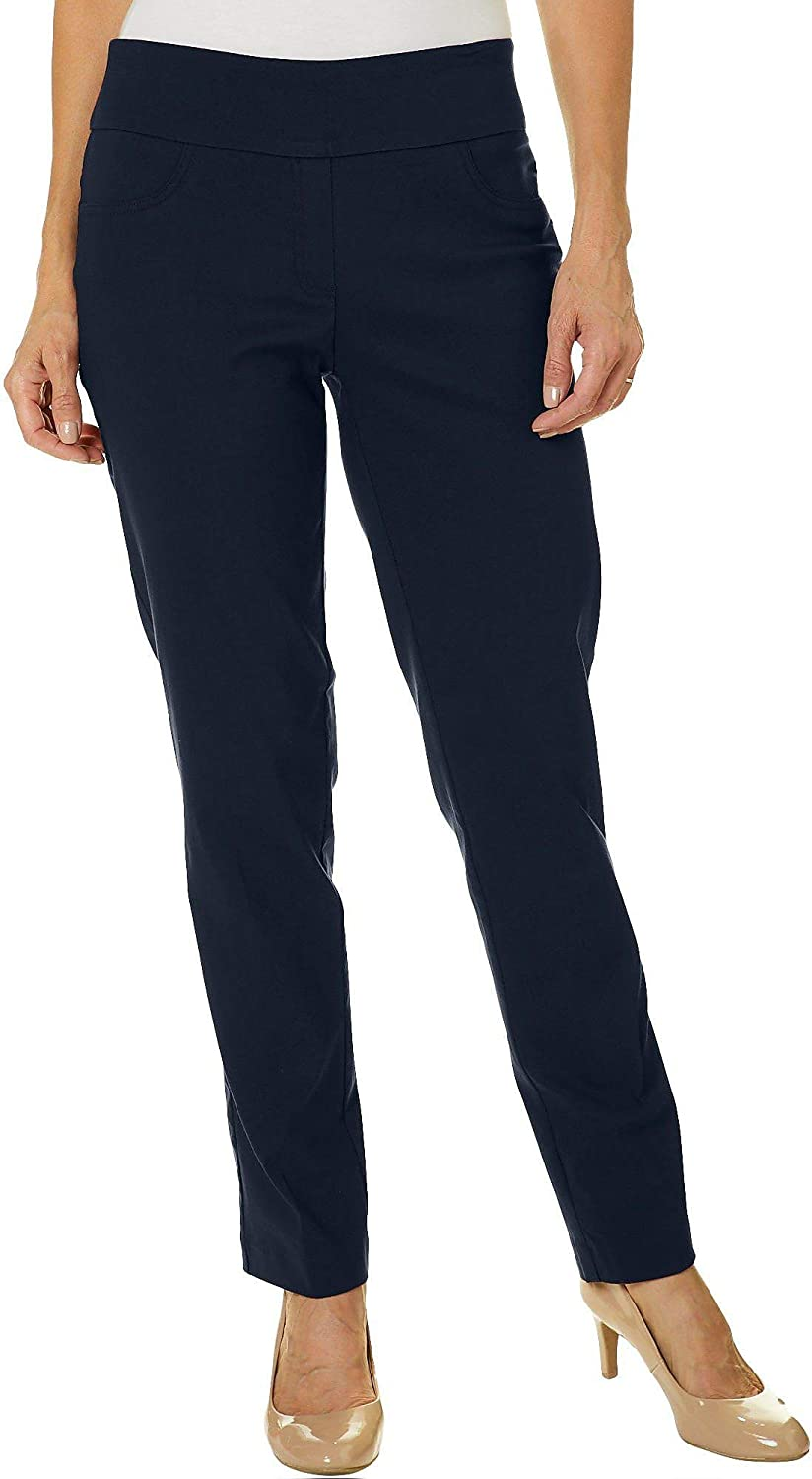 Ruby Rd. Womens Plus-Size Mid-Rise Pull-On Straight Solar Millenium Tech Pant Navy Size 16W