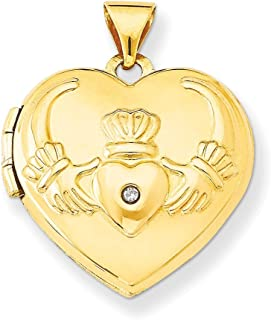 14k Yellow Gold Diamond Irish Claddagh Celtic Knot Heart Photo Pendant Charm Locket Chain Necklace That Holds Pictures Fine Jewelry Gifts For Women For Her