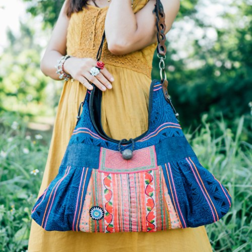 Pom Pom Beach Tote for Women Bohemian Shoulder Bag in Blue Changnoi One of a Kind Boho Tote Bag with Vintage Hmong Tribal Embroidered