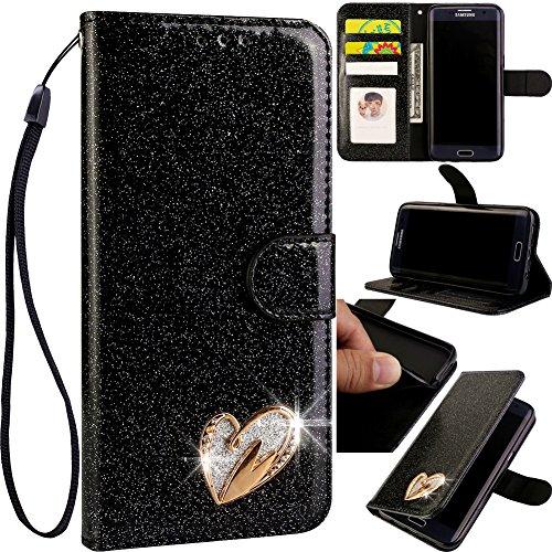 Stand Funktion für Samsung A50,Ledertasche Bling Glitter Glitzer Diamond Love Hearts Musterg Slim Retro Modisch Karteneinschub Magnetverschluss Flip Wallet Hülle Schutzhülle