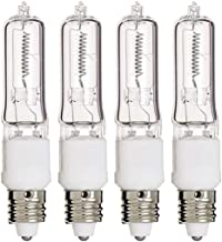 75 Watts Q75CL/MC Single Ended Replacement Halogen Light Bulbs Clear, JD Type, T4 Shape,Warm White E11 Mini Candelabra Base 120 Volts Light Bulbs Pack of 4