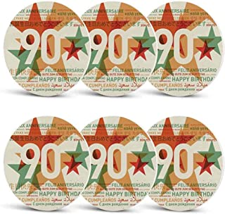 90th Birthday Decorations Custom Coasters,Old Age Celebrations from the World Languages Stars Vintage Style for Wine Glasses Cups & MugsSet of 6