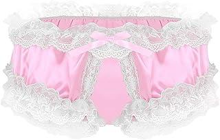 CHICTRY Sissy Panties Men's Frilly Satin Underwear Open Hole Ruffled Bikini Briefs
