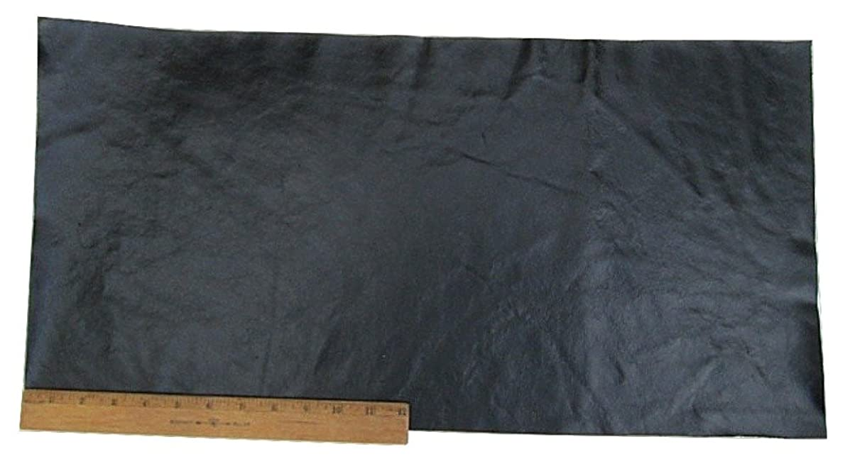 Upholstery Leather Piece Cowhide Black, Shiny Finish, 12 x 24 inches, 2 Square Feet