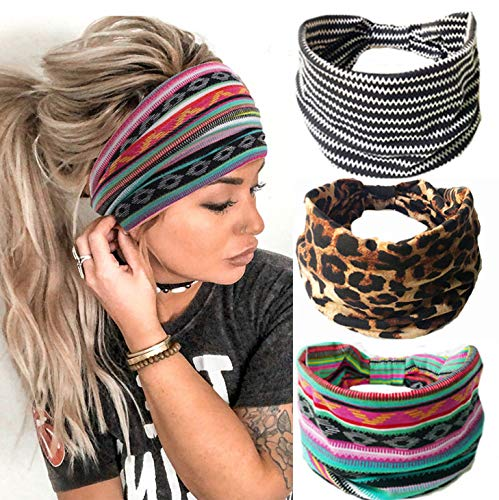 Gortin Boho Headbands Leopard Hair Bands Knoted Turban Headband Stretch Twist Head Wraps Stripe Cloth Head Bands for Women and Girls 3 Pcs