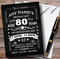 ヴィンテージ黒板スタイルブラックとホワイト80th BirthdayパーティーPersonalized Inv。。。 200 Invitations