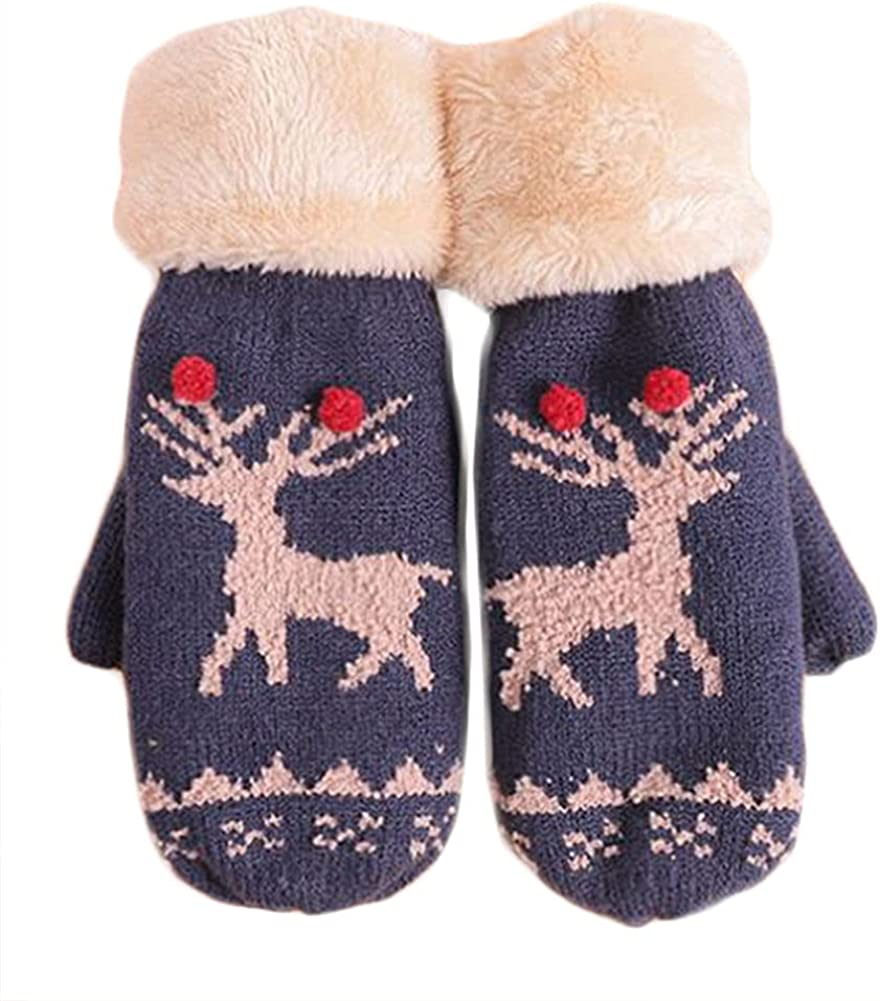 Winter Mittens For Women Christmas Knit Mitten Windproof Warm Fluffy Glove Cycling Running Work Cold Weather