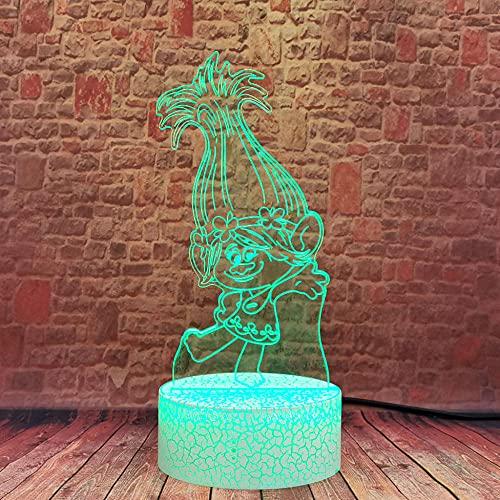 Lámpara de ilusión 3D, luz de noche Led Trolls, lámpara de mesa creativa de Anime, figura táctil, escritorio, juguetes coloridos para bebé, regalo para niño y niña