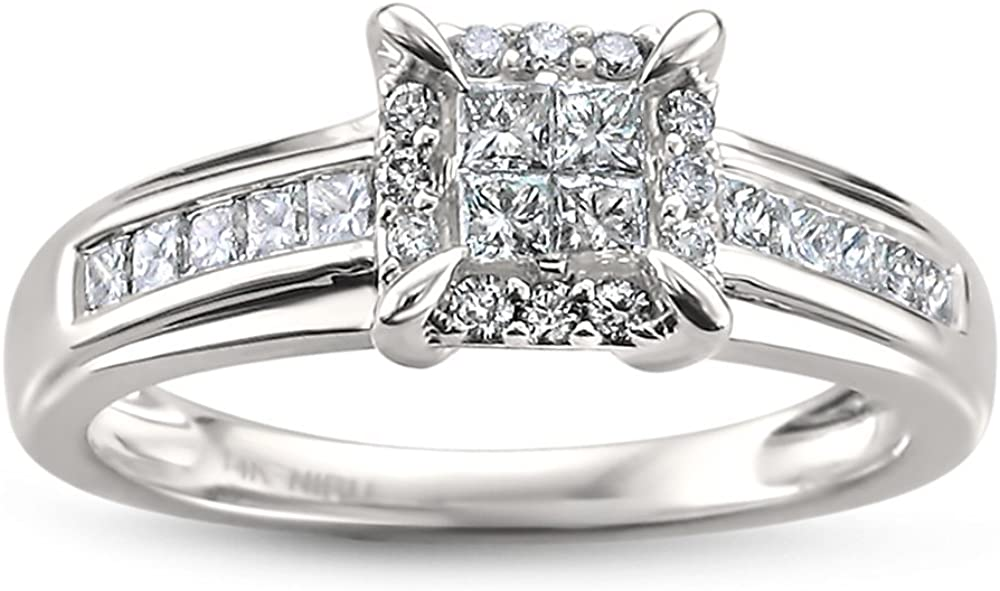 14k White Gold Princess-cut & Round Diamond Engagement Wedding Ring (1/2 cttw, H-I, I1-I2)   Real Diamond Wedding Ring For Women   Gift Box Included