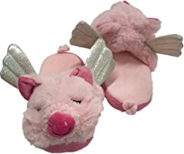 Womens Fuzzy Pink Pigs Fly Slippers Flying Piglet House Shoes Scuffs
