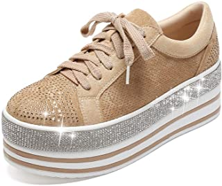 409-1 Women's Faux Leather Platform Lace Up Sneaker with Faux Diamonds